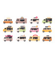 food trucks van cars selling street fast foods vector image