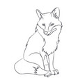 fox sitting lines vector image vector image