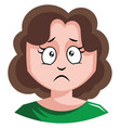 girl with brown curly hair is about to cry on vector image vector image