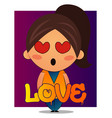 girl with brown ponytail is in love on white vector image