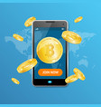 golden bitcoin mining concept win vector image