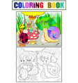 insects learn math coloring for children cartoon vector image vector image