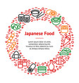 japanese foods thin line banner card circle vector image