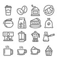 line coffee and accessories icons set vector image
