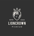 lion king crown hipster vintage logo icon vector image vector image