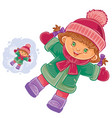 little girl lying on the snow and making a vector image vector image