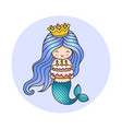 little happy princess mermaid holding a birthday vector image vector image
