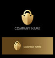 lock shield secure gold logo vector image vector image