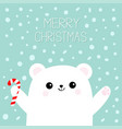 merry christmas polar white bear cub holding vector image vector image