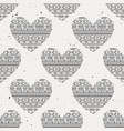 monochrome seamless pattern with ethnic hearts vector image