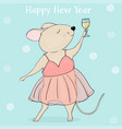 new year 2020 greeting card mouse with a glass vector image vector image