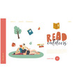 outdoor reading education or hoblanding page vector image vector image