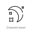 outline crescent moon icon isolated black simple vector image vector image