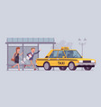 people catching a yellow taxi cab vector image