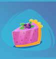piece of cake with cream and blueberry birthday vector image