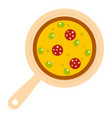 pizza on round board icon isolated vector image vector image