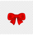 red bow isolated on transparent background vector image vector image