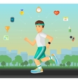Runner men running on the street with set of flat vector image vector image