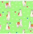 seamless pattern with llamas in spring meadow vector image