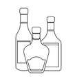 set of alcohol drink bottles in black and white vector image