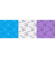 set of color hand drawn seamless pattern vector image
