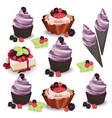set of delicious sweets and desserts with fruits vector image vector image