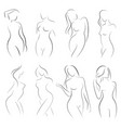 set of female figures collection of outlines of vector image vector image