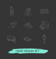 set of glamour icons line style symbols with hand vector image vector image