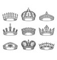 set of isolated sketch for crown or tiara vector image