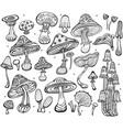 set of sketch of mushrooms vector image vector image