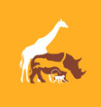 silhouette animal of the african savanna vector image vector image