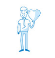 silhouette man with nice heart in his hand and vector image vector image
