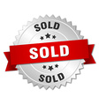 sold 3d silver badge with red ribbon vector image vector image