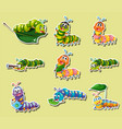 sticker set with different color caterpillars vector image