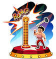 Strong man playing hammer and weight vector image