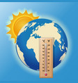 thermometer on the background of the globe vector image