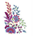 vintage flowers embroidery patch vector image vector image