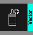 white line hand grenade icon isolated on black vector image vector image