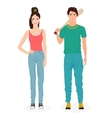 Young people in casual clothes Teen guy and girl vector image vector image