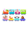 funny cartoon animals rides in cartoon trains vector image