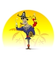 Pirate character with hook and treasure chest vector image