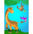 with a giraffemonkey and bird vector image