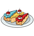 A plate of sellable cakes vector image vector image