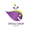 abstract bright whale drop sign design modern vector image vector image