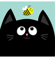 Black cat head looking at honey bee insect Cute vector image vector image