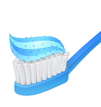Blue toothbrush and whitening toothpaste vector image