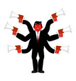 boss and megaphone businessman and lots of hands vector image vector image