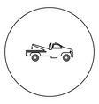 breakdown truck black icon outline in circle image vector image vector image