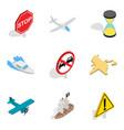 car traffic icons set isometric style vector image
