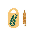 ceramic cutting board and wooden rolling pin flat vector image